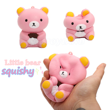 2017 New 10cm Jumbo soft scented Cake kawaii Rilakkuma bear squishy Slow Rising Kid toys Gift cell phone pendant bread Panda