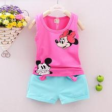 2017 Summer Sleeveless Vest Shorts Suit for Girls Character Mouse 4 colors Comfortable 95% Cotton for Children Baby Girl Set