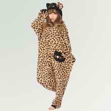 HKSNG Kigurumi Adult Women Winter Warm Cartoon Animal Leopard Pink Hello Kitty  Pajamas Onesie Cosplay Costume For Party