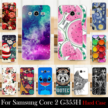 Case For Samsung Galaxy Core 2 G355H G3559 Colorful Printing Drawing Transparent Plastic Mobile Phone Cover For Hard Phone Cases