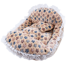Fashion Hot Sale  Round Soft Dog  House Star Interspe Berber Fleece Bed Striped Pet Cat And Dog Bed Grey /Red-Blue  Pet Products