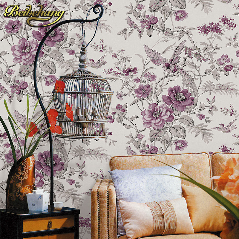 beibehang papel de parede 3D Pastoral flowers bird Wallpaper Embossed Grey Wall Paper For Living Room Tv Background Covering<br>
