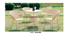 Promotion Modern Beige Rattan Furniture Wicker Garden Set Table 4 Chair Leisure Outdoor balcony courtyard small yard furniture
