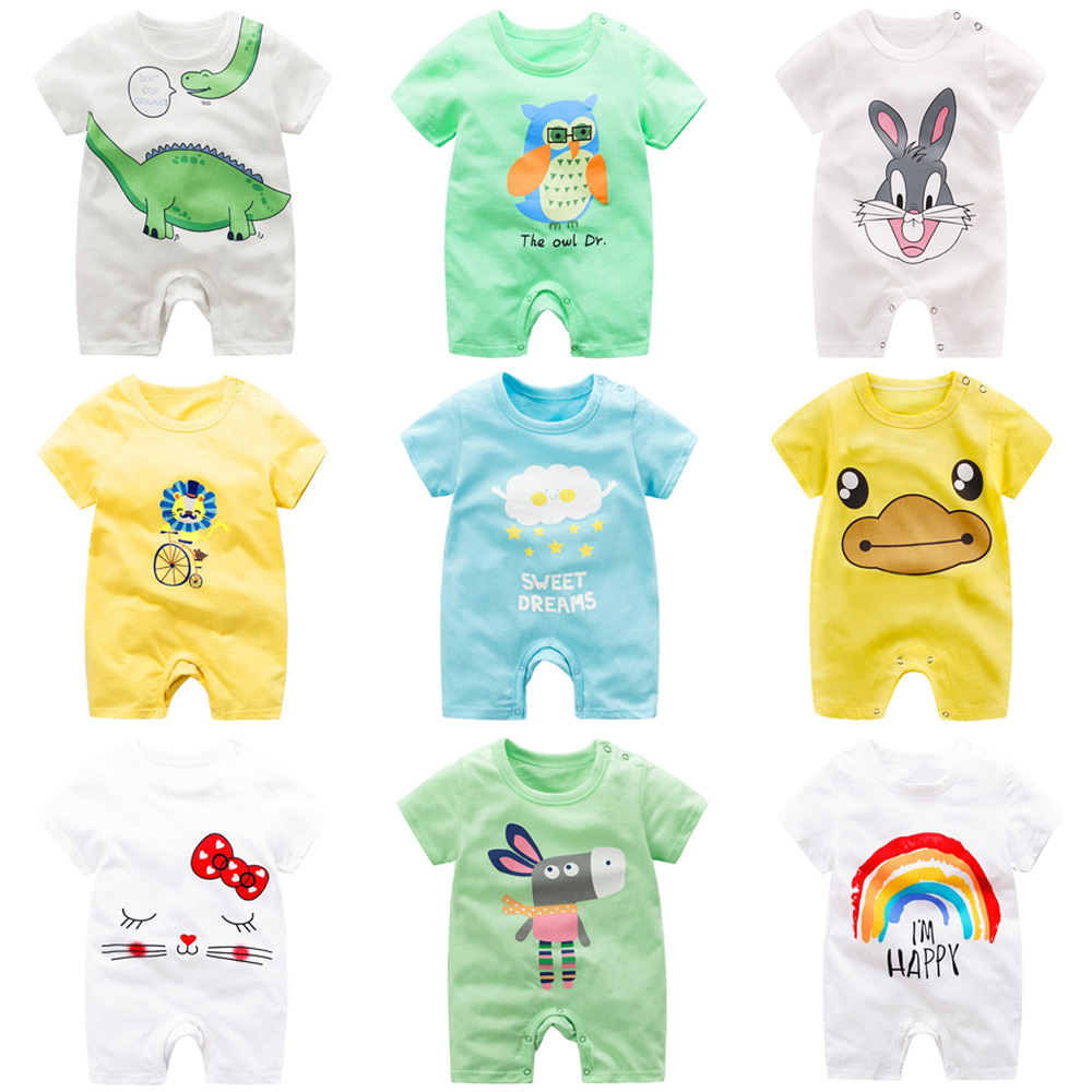 baby clothing 100% cotton unisex rompers baby boy girls short sleeve summer cartoon toddler cute Clothes (China)