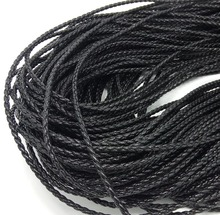 Free shipping 20m black braid PU leather Beading Cord 3mm dia. Beading Wire Handcraft Accessory for bracelet & necklace