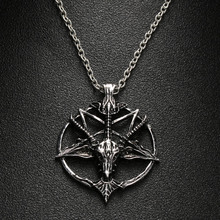 1Pcs Fashion Pentagram Pan God Skull Goat Head Pendant Necklace Luck Satanism Occult Metal Vintage Silver Star Necklace for Man(China)