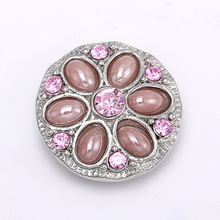 Pink Crystal Flower Rhinestone Stone Snap Buttons fit 18mm/20mm DIY Snap Bracelet Buttons Jewelry Making 5pcs/lot NZ759