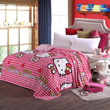 Children Pink Hello Kitty Cartoon Plush Blanket on the Bed Soft Sofa Throw Blanket Brand Twin Full Queen King Size Blanket Sheet