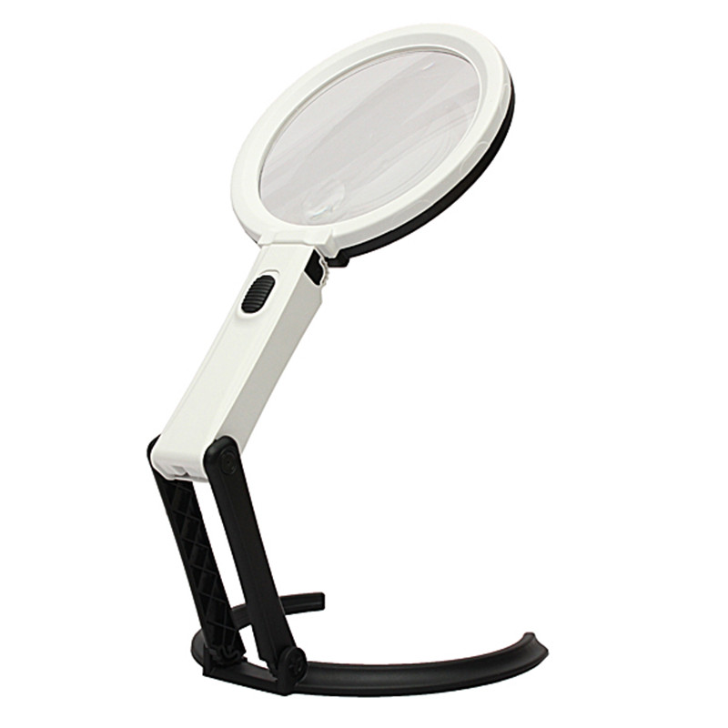 New Arrival 12 LED Lighting Desk Handheld Table Lamp With 1.8X 5X Bench Magnifier Glass<br>