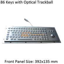 86 Keys Metal keyboard with OPTICAL trackball, metallic industrial keyboard, kiosk keyboard with trackball
