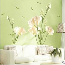 Large size 3D green lily flowers vinyl wall stickers home decor DIY living room sofa wall decals home decoration wall papers
