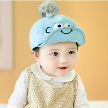 For 4 Months -2 Years Old Boys And Girls Children Lovely Eyes Baseball Caps Hair Ball Soft Edge Flanging Adjustable Tongue Cap