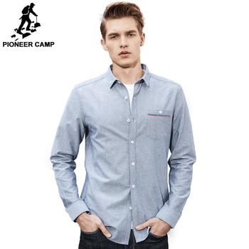 Pioneer Camp Nouveau Printemps à manches longues occasionnels chemise hommes marque-clothing sociale mâle chemise top qualité coton robe chemise ACC705068