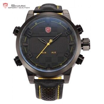 Sawback ángel shark sport reloj para hombre caja de acero negro amarillo digital de doble movimiento 3d logo led relojes de pulsera de cuero/sh204
