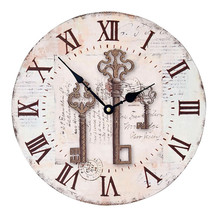 Vintage  Wooden Wall Clock Europe Style Shabby Chic Rustic Kitchen Home Antique Style  Electric Clocks