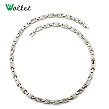 Wollet Christmas Gift Men Jewelry Magnetic Infrared Germanium Mens Titanium Necklace