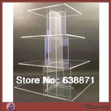 Crystal Clear Square 4 Tier wedding favors Cake Stand/Cupcake Wedding Cake Stand ,wedding favors cake stands