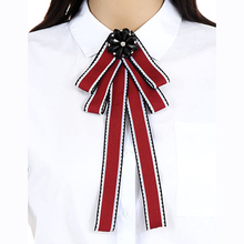 ZHINI Stripe Bowknot Fashion Cheap Statement Scarf Brooches Pins Hot Sale Trendy Style Bohemian Cloth Clip Women Tie Bow Brooch(China)