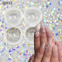 SWEET TREND New 250pcs/Bottle 1.0mm SS3 Sparkly Nail Art Decor Rhinestone Clear AB Color Flat Back Glitter Crystal DIY LANJ257