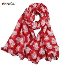 Vancol Spring Autumn Cheap Soft Pashmina Scarves Cotton Scarf for Child Santa Claus Decor Scarf Female Christmas Chiffon Scarf