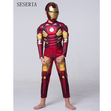 SESERIA Halloween Party Cosplay Clothes Birthday Boys Children's Iron Man Muscle Costume Movie Costumes Christmas Gift