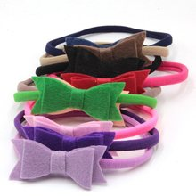 Nylon Headband BabyGirls Elastic Hairband Felt Hair Bows InfantToddler Solid Kids Head band Hair Accessories Cute 15colors