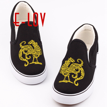 E-LOV Brand Chinese Symbolic Animals Canvas Shoes Printed Chinese Zodiac Animal Casual Slip On Loafers zapatos de mujer(China)