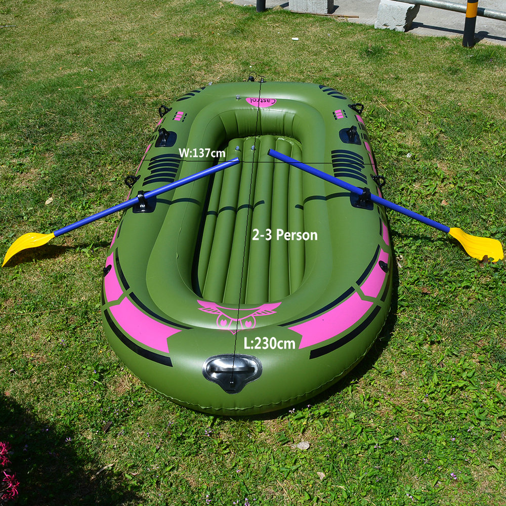 1 Set 2 - 3 Person Portable Inflatable Boat High Strength PVC Rubber Fishing Boat 230x137cm with Paddles Pump Patching Kit (12)_