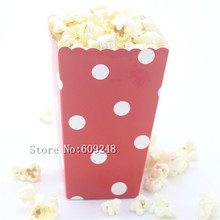 24pcs White Polka Dot Red Paper Popcorn Boxes,Party Favor Boxes,Candy Buffet Gift Treat Cups,Christmas,Carnival,Holiday,New Year(China)