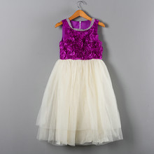 High Quality Party Dresses Childrens Trendy Clothes Rhinestones Beaded O-neck Lolita Beige and Purple Dress for Girl Kids(China)