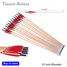 12pcs 31''Archery wooden Arrows handmade Diameter 8mm Turkey feather Recurve Long Bow site shooting 20-70 lbs Red Feathers(China)