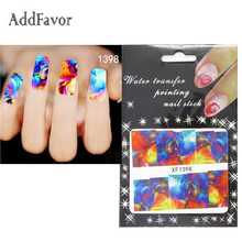 Addfavor 3PCS Colorful Painting Design Water Transfer Nail Stickers Decal French Manicure Custom Fingernail Tip Art Sticker