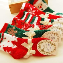Christmas Xmas Gift Women Warm Soft Coral Cashmere Ankle Socks Santa Claus Deer #H0VH#