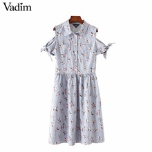 Vadim women off shoulder bird print striped pleated dress bow tie sleeve turn down collar ladies casual dresses vestidos QZ3047