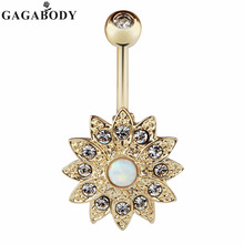 2017 Wholesale 1PCS Opal Belly Button Ring Jeweled Flower 14G Girls Body Piercing Jewelry