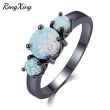 RongXing Simple Fashion White Fire Round Opal Rings for Women Vintage Black Gold Filled Birthstone Ring Wedding Jewelry RB1382(China)