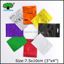 Bottom fill sealing bag (100pcs/lot  3''X4'' ) thickness 3.5mil for 1-3g multicolor zip lock foil bag packaging bags