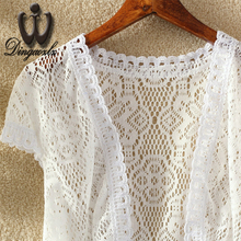 Dingaozlz Summer bride shawl short paragraph small cardigan short jacket women clothing elegant hollow out stitching lace tops
