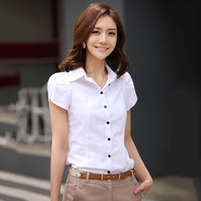 S-5XL Women Shirts 2017 Summer White Butterfly Short Sleeve Blouse Slim OL Plus Size Office Ladies Tops