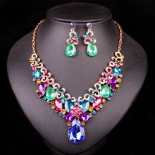 Indian Rhinestone Bridal Jewelry Set Wedding Party Accessories Necklace Earring Set Jewelry For Bride Women supplies for jewelry(China)