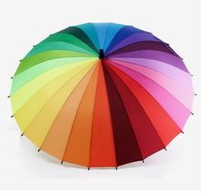 Top Quality 24k Rib Color Rainbow Fashion Long Handle Straight Anti-UV Sun/Rain Stick Umbrella Manual Big Parasol(China)