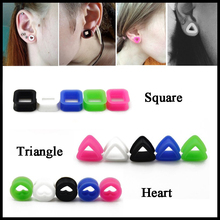 Pair Triangle Square Heart Hollow Thin Soft Silicone Ear Flesh Tunnel Plug Ear Gauge Taper Expander Piercing Jewelry 4mm-20mm