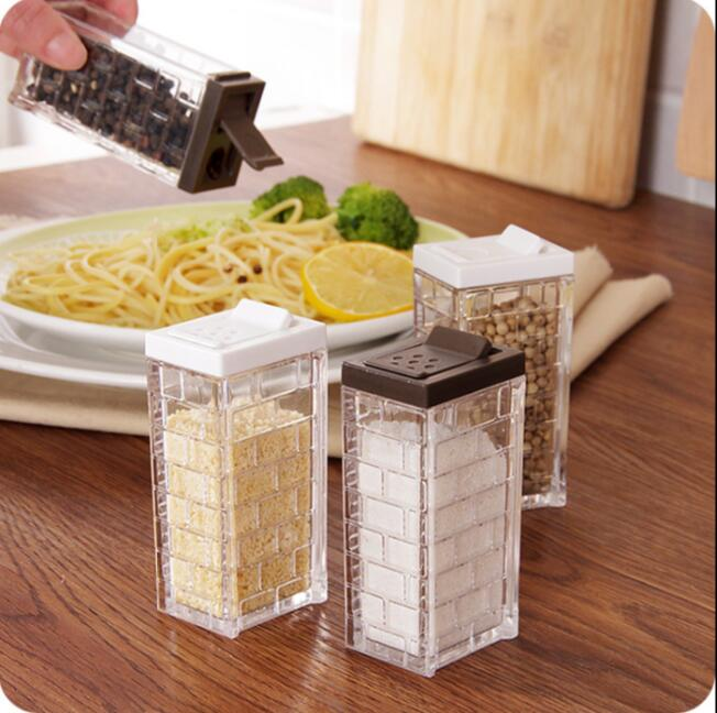 visual transparent glass spice jar with lid sealed seasoning storage bottles 2 pcslot salt and pepper spice container