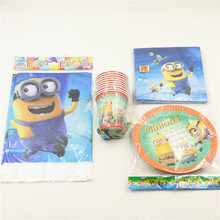 New Minions Birthday Party Decoration Paper Cup+Paper Plate+Paper Napkin+Table Cover for Kids Birthday Party Decoration Supplies(China)