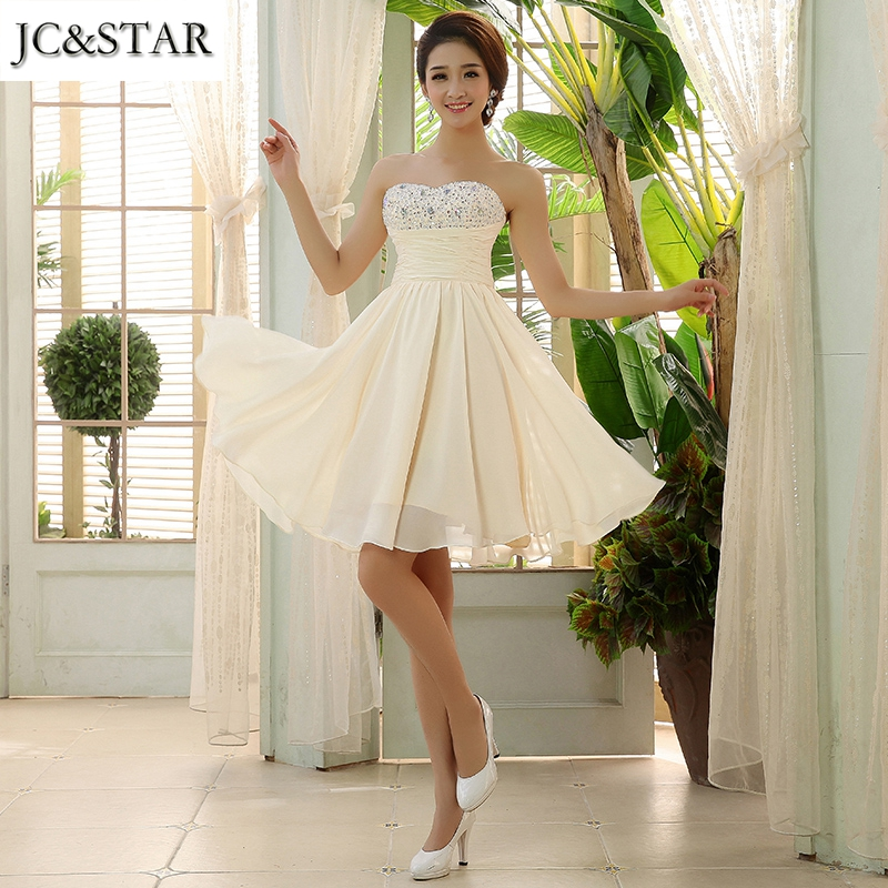 JC&STAR Short Evening Dress Robe De Soiree Courte Sleeveless Formal Ball Gowns Pretty Elegant Evening Party Dress(China (Mainland))