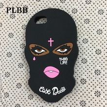 Masked Goon Thug Life Phone Coque Case for iPhone X 6s 6 7 8 plus 5 5S SE 5C Teared Girl Jesus Christian Cross Silicone Cover
