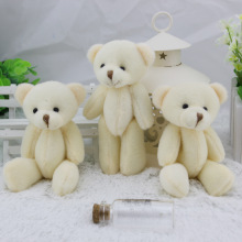 12PCS 12CM White Jointed Mini Teddy Bear Kawaii Small Teddy Bear for Cartoon Bouquet Toy Wedding Gifts