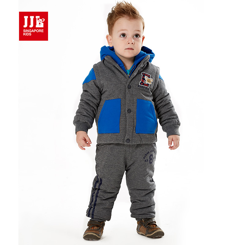 baby clothing set 2015 new winter baby suit jacket+vestcoat+long pants kids brand sport suit tracksuit 100% cotton for baby boy(China (Mainland))