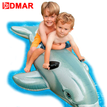 DMAR 175cm 69inch Inflatable Dolphin Pool Float Toys for Kids Ride on Toys Swimming Ring Circle Inflatable Mattress Beach Sea