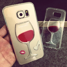 Flowing Liquid Red Wine Glass Cup Lip Capa Case for Samsung Galaxy S7 Edge S7 S6 Edge S6 S5 Note 5 4 3 iPhone 7 7 Plus 6 6S 5 SE